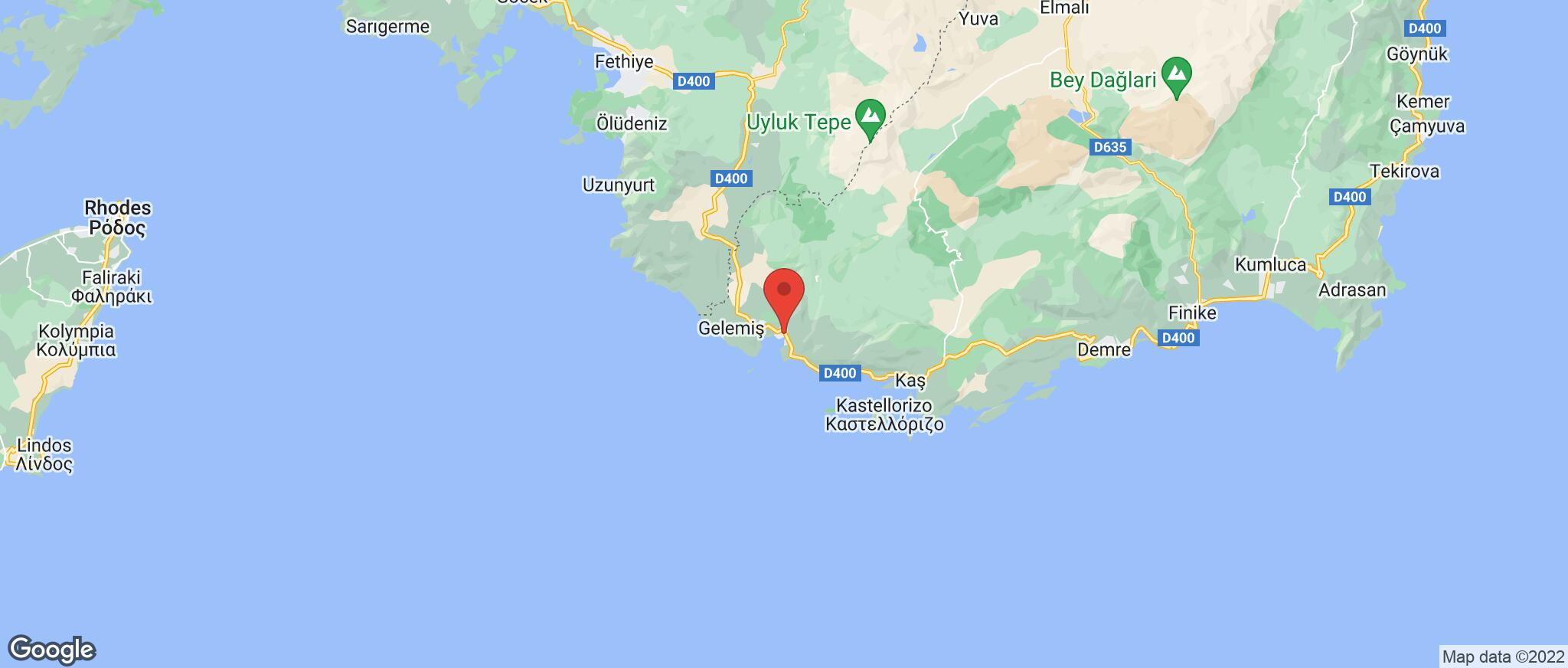Map showing the location of Kalkan