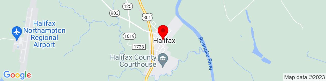 Google Map of 36.3284552, -77.589713