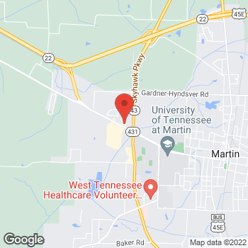 Map of Taco Bell at 849 University St, Martin, TN 38237