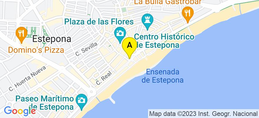 situacion en el mapa de . Direccion: Avda. España, 124, 4ª, 29680 Estepona. Málaga