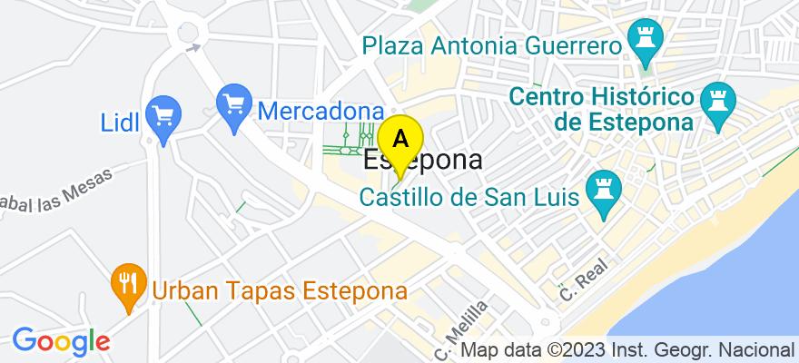 situacion en el mapa de . Direccion: Av. Juan Carlos I, Edif. Alborán, Portal B, 4º A, 29680 Estepona. Málaga