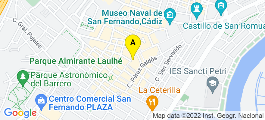 situacion en el mapa de . Direccion: Calle Real, 28, 11100 San Fernando. Cádiz