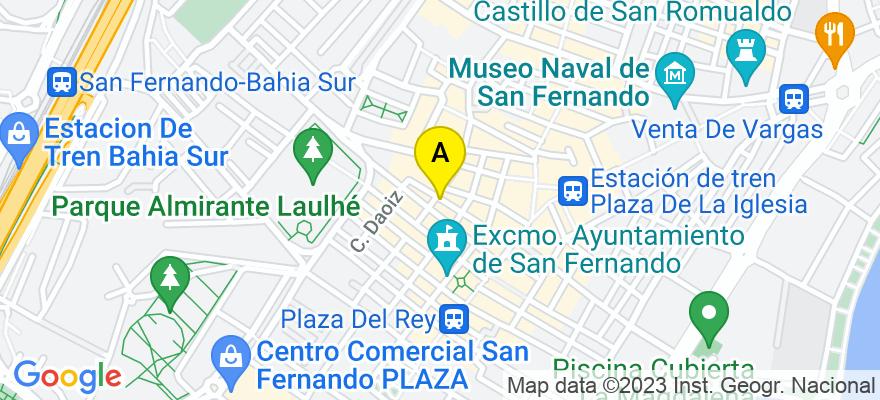 situacion en el mapa de . Direccion: CERVANTES 29, 11100 San Fernando. Cádiz