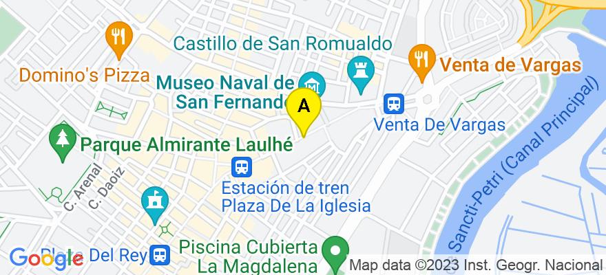 situacion en el mapa de . Direccion: Real n.º 43, Bajo A, 11100 San Fernando. Cádiz