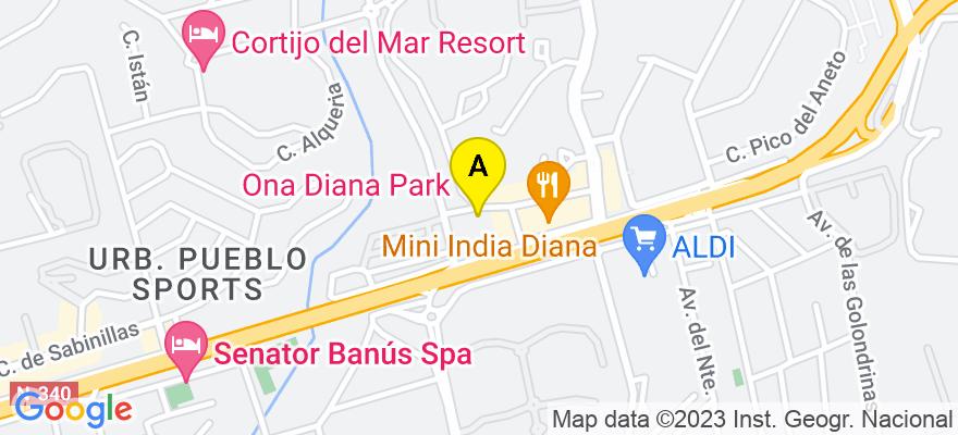 situacion en el mapa de . Direccion: Centro Comercial Diana, bloque 3, local 22, 29680 Marbella. Málaga