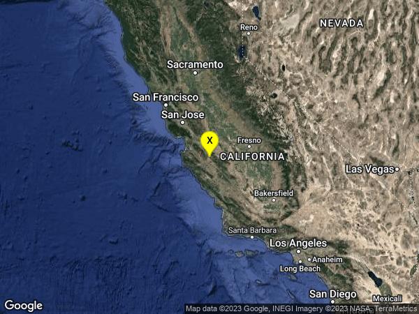 earthquake 11km SE of Pinnacles, CA