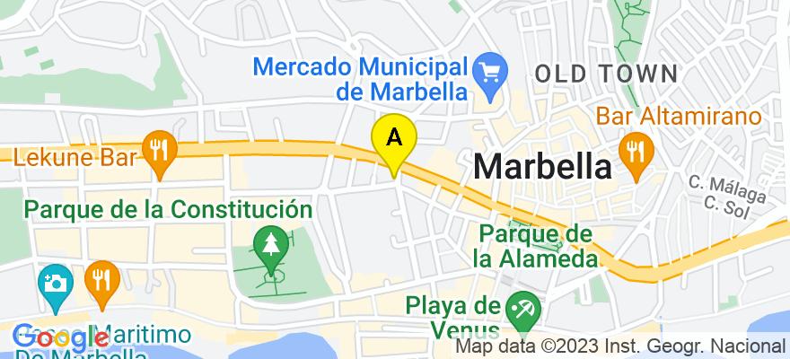 situacion en el mapa de . Direccion: Calle Notario Luis Oliver nº 6, 4 B, 29602 Marbella. Málaga