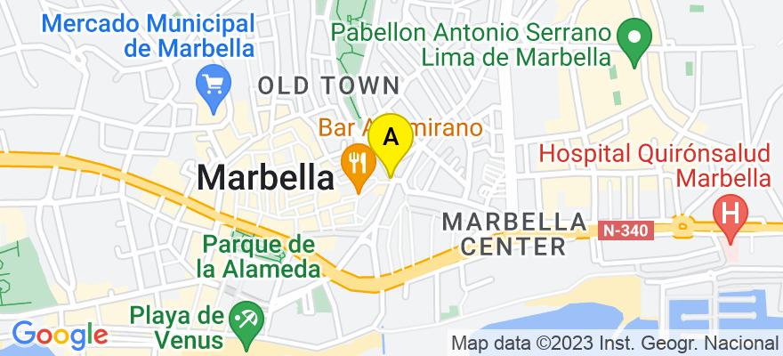 situacion en el mapa de . Direccion: c/ Salvador Rueda, 4, local 2ºB, 29601 Marbella. Málaga