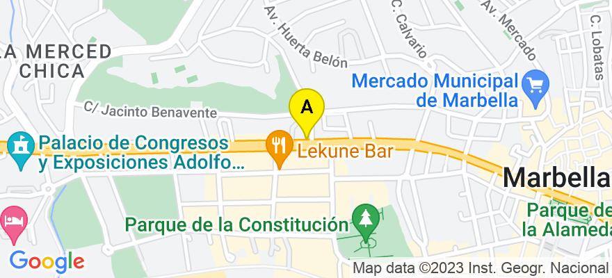 situacion en el mapa de . Direccion: AVDA. RICARDO SORIANO 50, 29601 Marbella. Málaga