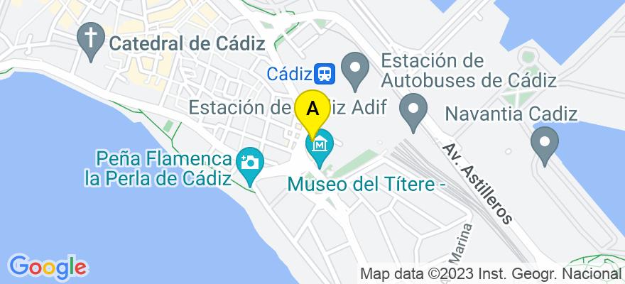 situacion en el mapa de . Direccion: Avenida del Puerto nº 1 (edificio Trocadero) 4ª planta, puerta F, 11006 Cádiz. Cádiz