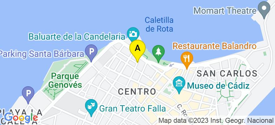 situacion en el mapa de . Direccion: Via Murguia 33 Bajo A, 11540 Cádiz. Cádiz