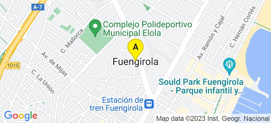 situacion en el mapa de . Direccion: Avd. Clemente Díaz Ruiz nº4 Edf. Tres Coronas Bloque C nº101, 29640 Fuengirola. Málaga