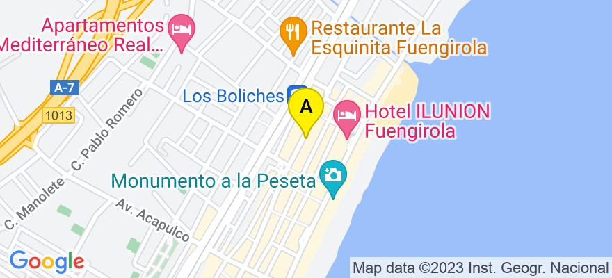 situacion en el mapa de . Direccion: Avd. de los Boliches, 86, 29640 Fuengirola. Málaga