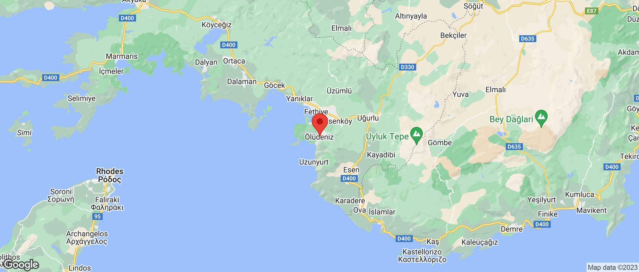Map showing the location of Olu Deniz