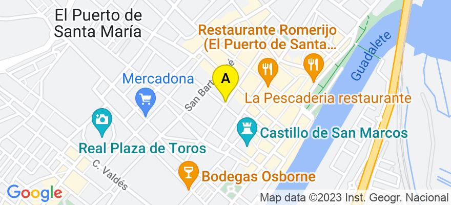 situacion en el mapa de . Direccion: C/ Pedro Muñoz Seca, 40, 11500 El Puerto de Santa María. Cádiz
