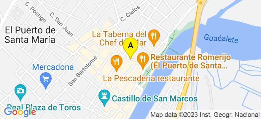 situacion en el mapa de . Direccion: C/ Ganado 7 Bajo C, 11500 El Puerto de Santa María. Cádiz