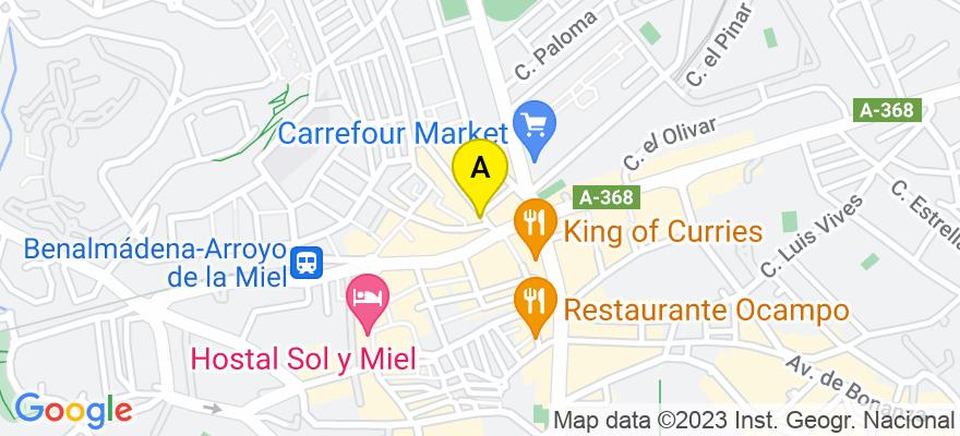 situacion en el mapa de . Direccion: Calle Las Flores, 1,  Oficina 1º B, 29631 Benalmádena. Málaga