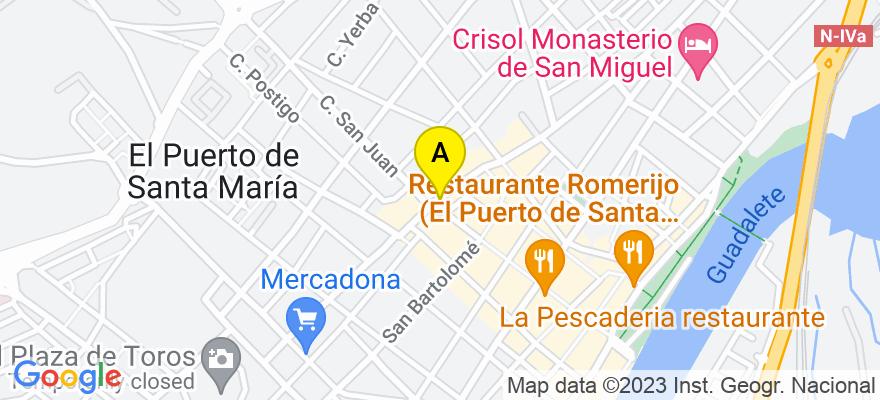 situacion en el mapa de . Direccion: C/ Doctoor Muñoz Seca, 17, 11500 El Puerto de Santa María. Cádiz