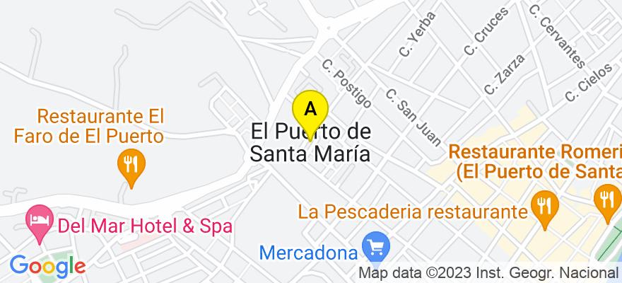 situacion en el mapa de . Direccion: Calle Virgen de los Milagros 85, 1ª Planta oficina 2, 11500 El Puerto de Santa María. Cádiz