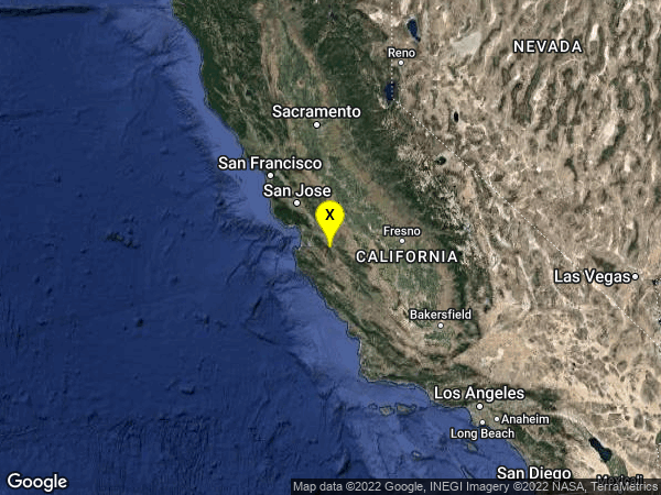 earthquake 13km NW of Pinnacles, CA