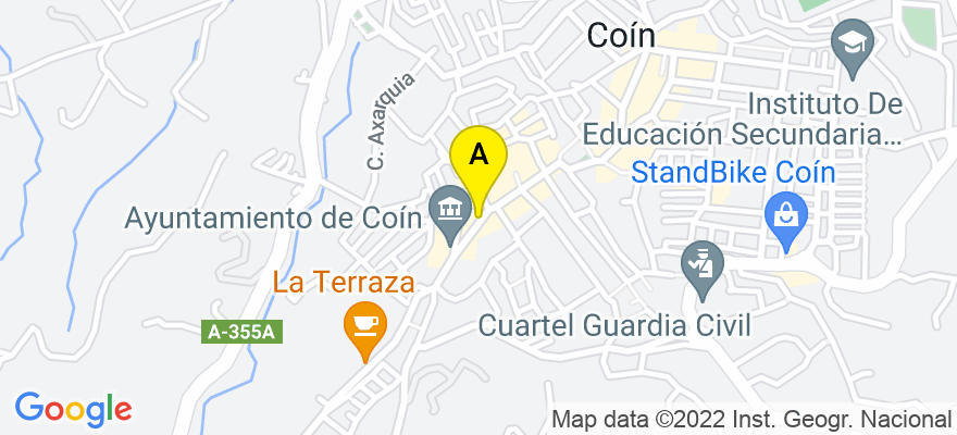 situacion en el mapa de . Direccion: Plaza de la Villa, Edf. Alfares 1, 2º Ofic. 2, 29100 Coín. Málaga
