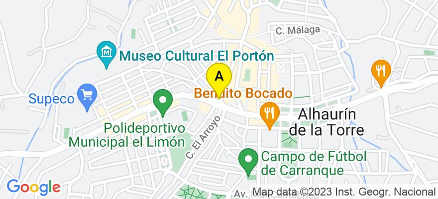 situacion en el mapa de . Direccion: Avda. España 76-78, 29130 Alhaurín de la Torre. Málaga