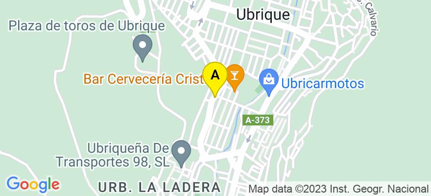 situacion en el mapa de . Direccion: paseo del prado,41, 11600 Ubrique. Cádiz