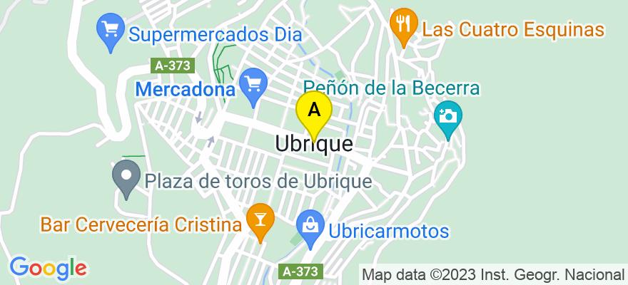 situacion en el mapa de . Direccion: Avenida de España, nº 82 Bajo Izquierda, 11600 Ubrique. Cádiz