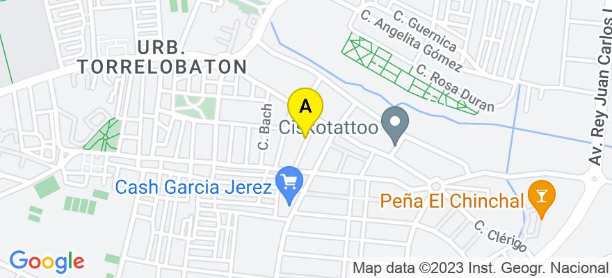 situacion en el mapa de . Direccion: C/ Playa de Caños de Meca, 31, 11406 Jerez de la Frontera. Cádiz