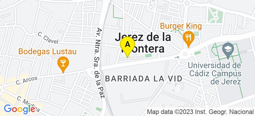 situacion en el mapa de . Direccion: C/ Adriático Edif. Adriático , pta.2 Of.2, 11407 Jerez de la Frontera. Cádiz