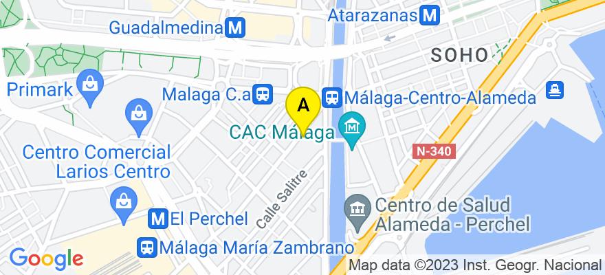 situacion en el mapa de . Direccion: Cl. Cuarteles 13, 1º A, 29002 Málaga. Málaga