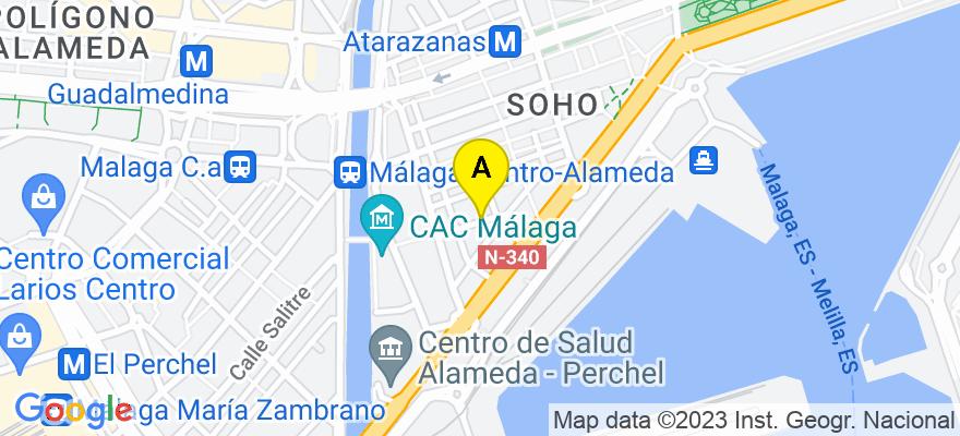 situacion en el mapa de . Direccion: C/ Pinzón nº 8, 4º-16, 29001 Málaga. Málaga