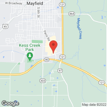 Map of Verizon Authorized Retailer - TCC at 1259 Paris Road, Mayfield, KY 42066