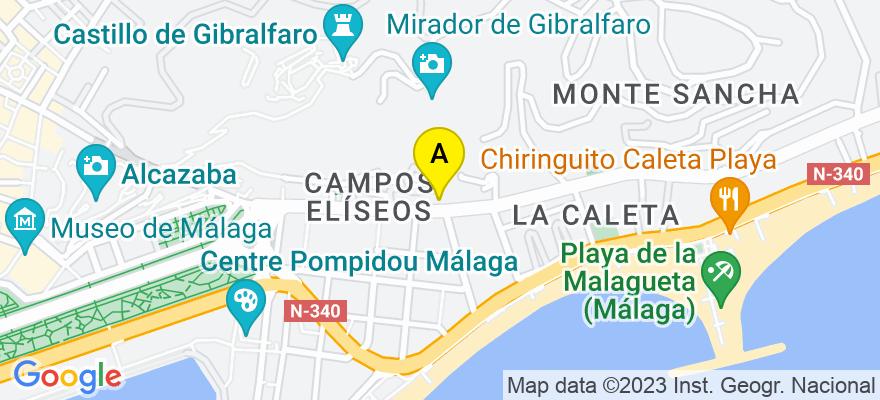 situacion en el mapa de . Direccion: Paseo de Reding 43, 29016 Málaga. Málaga