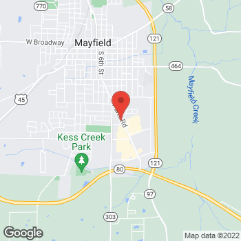 Map of Taco Bell at 1023 Paris Rd, Mayfield, KY 42066