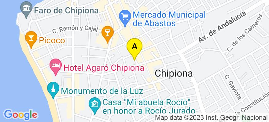 situacion en el mapa de . Direccion: calle Joaquin Jurado, 34-36, 11550 Chipiona. Cádiz