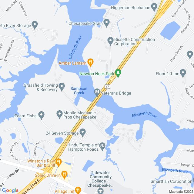 Map of Dominion Boulevard Veterans Bridge