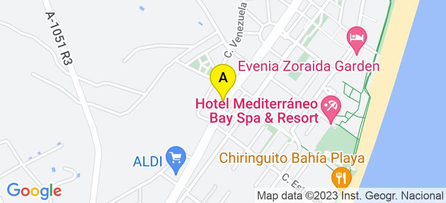 situacion en el mapa de . Direccion: AVDA SABINAL 347, 04740 Roquetas de Mar. Almería