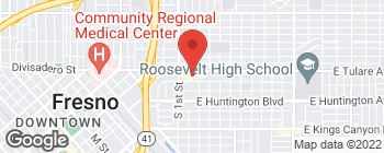 Map of 3220 E Tulare St in Fresno