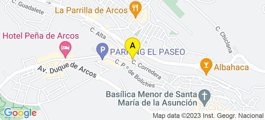 situacion en el mapa de . Direccion: Corredera 62, 11630 Arcos de la Frontera. Cádiz