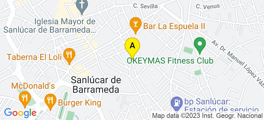 situacion en el mapa de . Direccion: C/ Caño Dorado nº 13, 11540 Sanlúcar de Barrameda. Cádiz