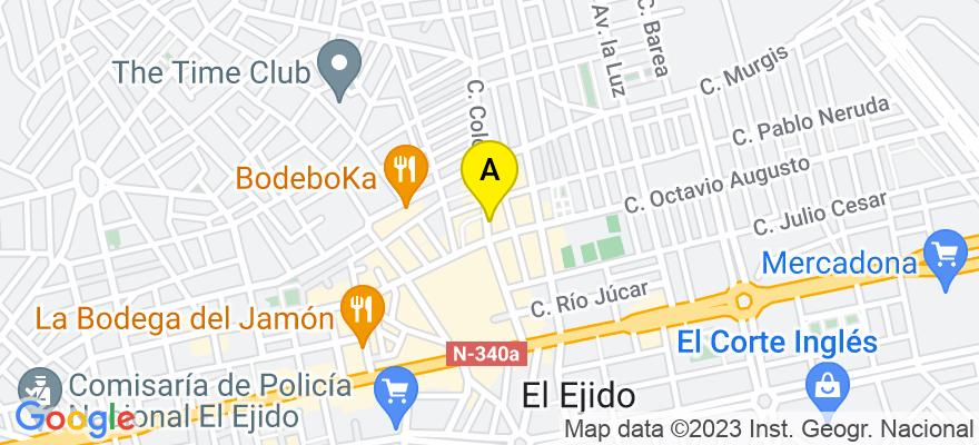 situacion en el mapa de . Direccion: C/ Colombia nº 4 - 1º - Oficina 6, 04700 El Ejido. Almería