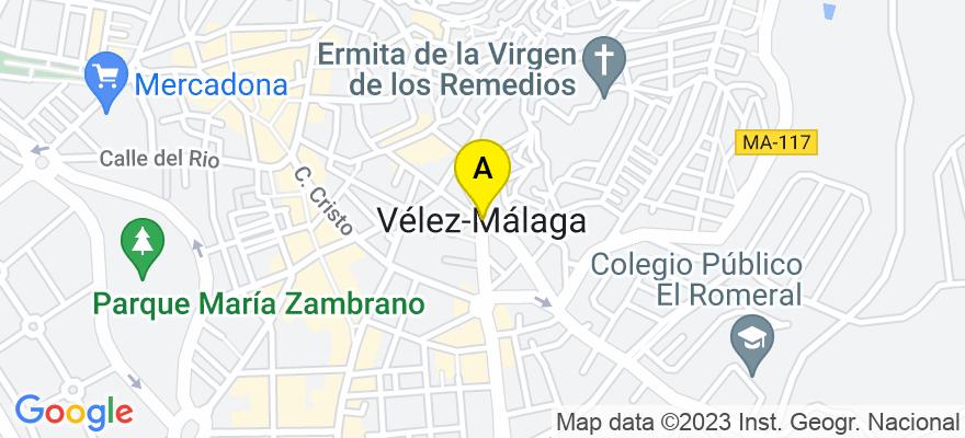 situacion en el mapa de . Direccion: Pasaje Mendoza Edificio Ana Cristina 2, 4ºB Izquierda, 29740 Vélez-Málaga. Málaga