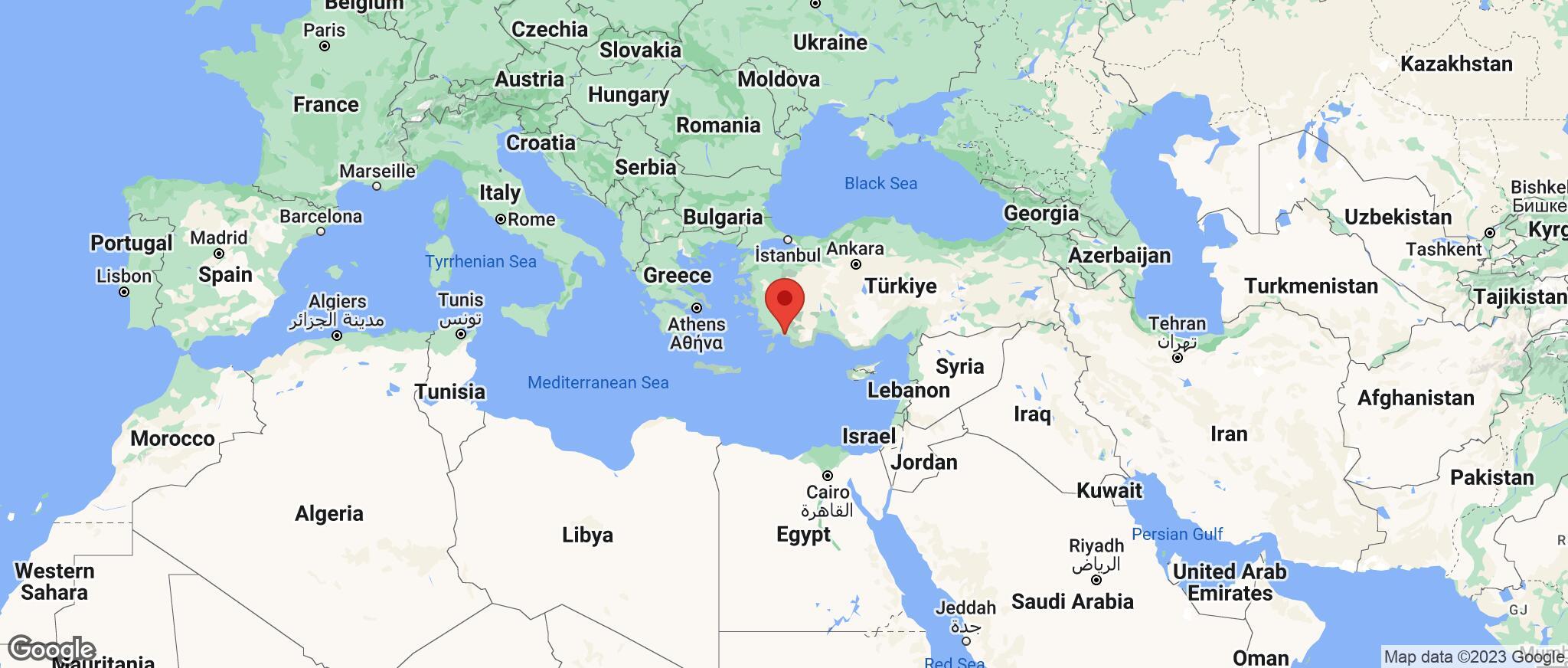 Map showing the location of Dalaman Region
