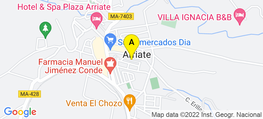 situacion en el mapa de . Direccion: urb.El Molino, local 2., 29350 Arriate. Málaga