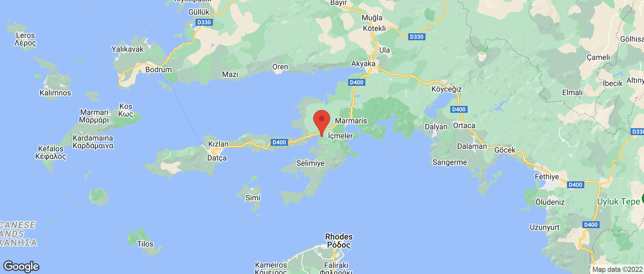 Map showing the location of Hisaronu