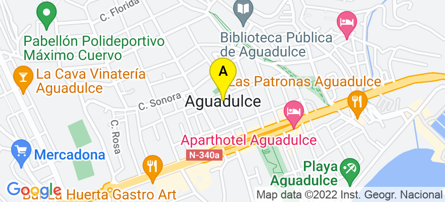 situacion en el mapa de . Direccion: Aguadulce, 04720 Roquetas de Mar. Almería