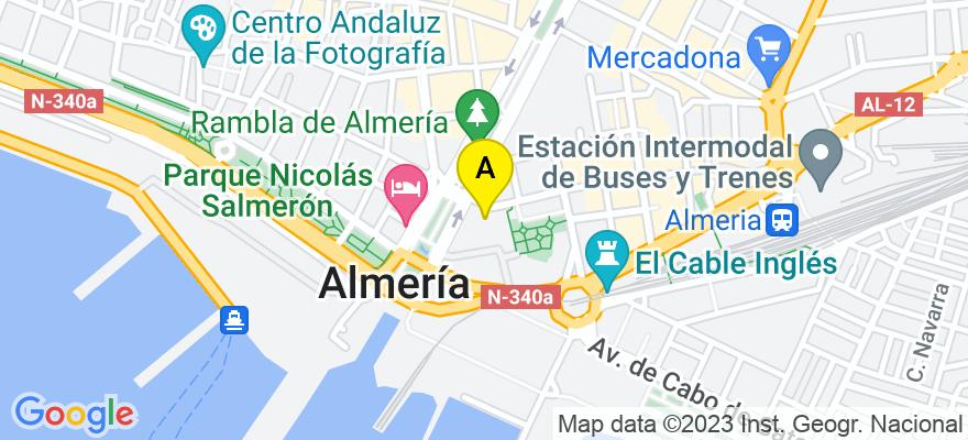 situacion en el mapa de . Direccion: C/. Canónigo Molina Alonso nº 4, 9º-1, 04004 Almería. Almería