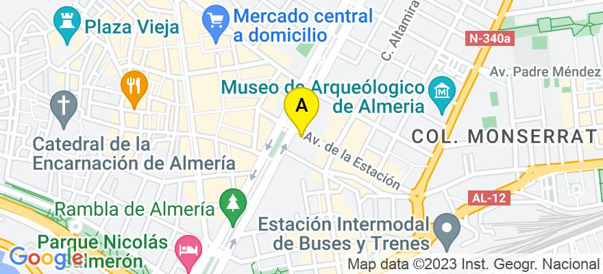 situacion en el mapa de . Direccion: Avda. de la Estación, 2, 5º D, 04005 Almería. Almería