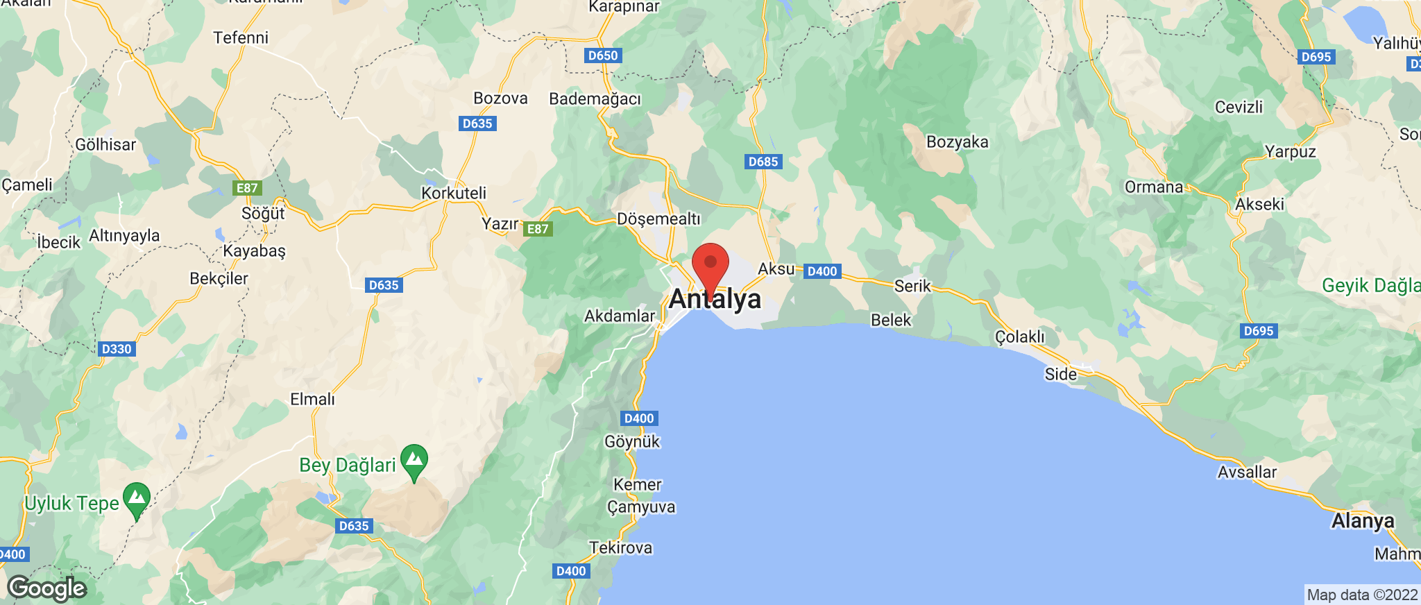 Map showing the location of Antalya
